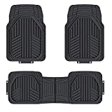 Amazon Basics 3-Piece All-Season Odorless Heavy Duty Rubber Floor Mat for Cars, SUVs and Trucks, Black