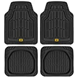 CAT Deep Dish Rubber Floor Mats All Weather for Car Truck SUV & Van Total Protection Durable Trim to Fit Liners Heavy Duty Odorless, Black, Model Number: CAMT-1004-BK